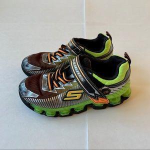 Skechers S-Lights 1 Black Green Orange Shoes